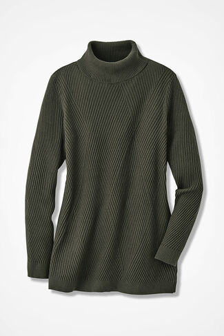 Diamond Rib Tunic Sweater, Vine, large