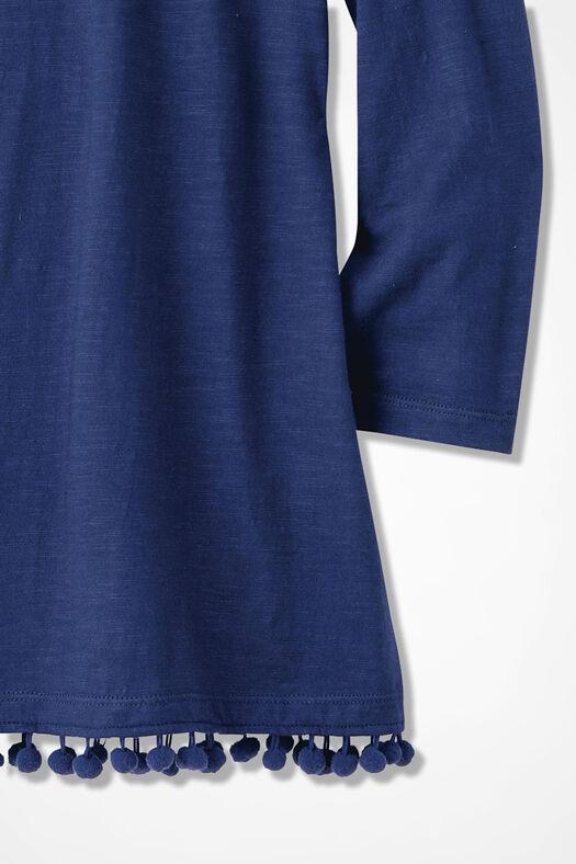 Pompom-Hem Knit Tunic, India Ink, large