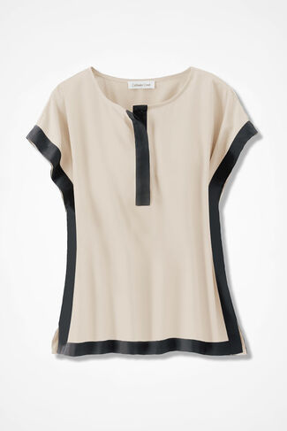 Bold Borders Silky Blouse, Alabaster, large