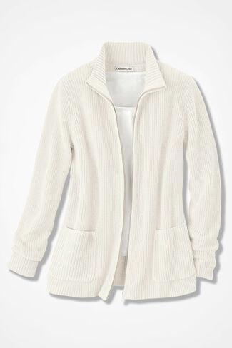 Shaker Zip-Front Cardigan, Antique White, large