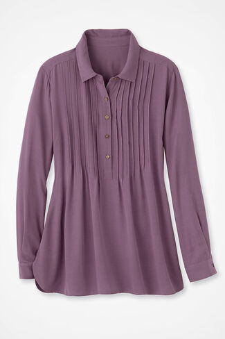 Long Sleeve Bistro Pullover Tunic, Dusty Plum, large img