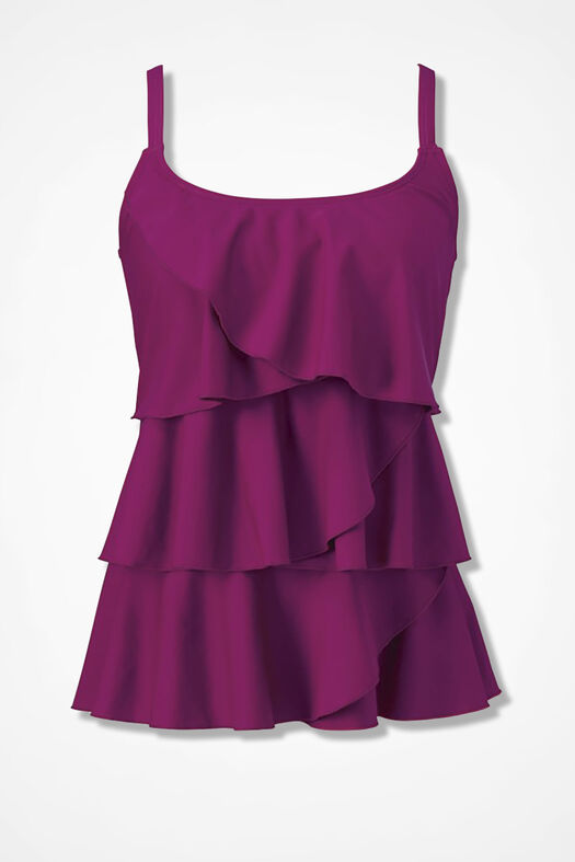 Solid Ruffled Tankini Top, Vienna Currant, large
