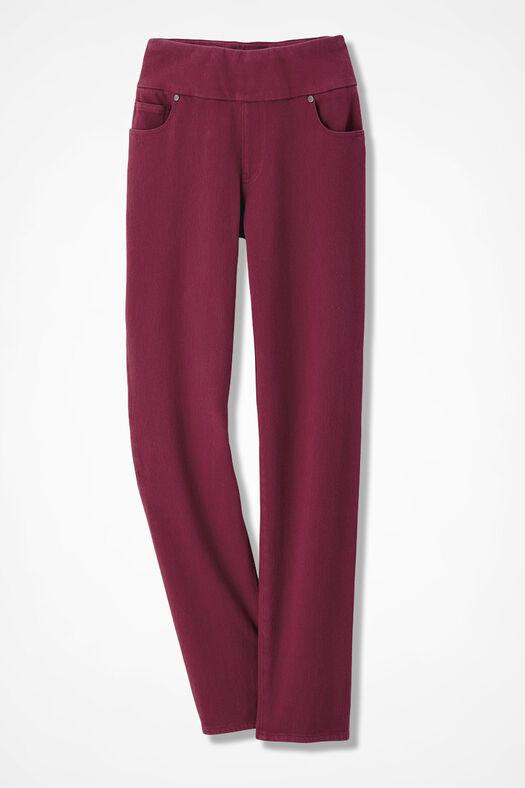 Knit Denim Pull-On Slim-Leg Jeans, Garnet, large