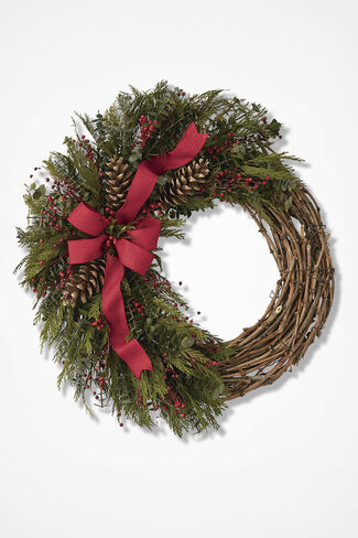 Festive Garland Wreath, Red, large