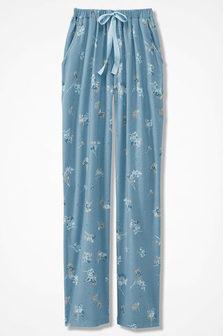 Pressed Flower Print Flannel PJ Pants, Lagoon, large
