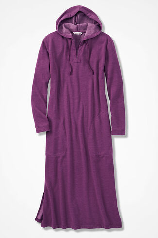Hooded Fleece Lounger, Currant, large