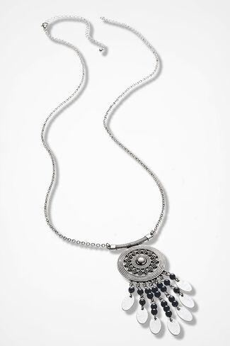 Dreamcatcher Necklace, Silver, large