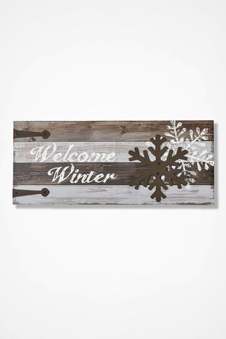 """""""Welcome Winter"""" Wall Art, Natural, large"""
