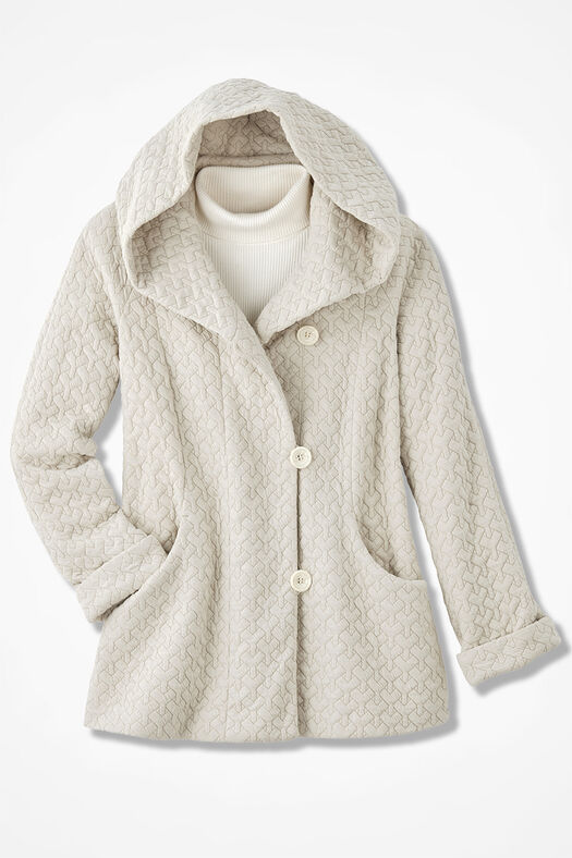 First Frost Textured Knit Coat, Oatmeal, large