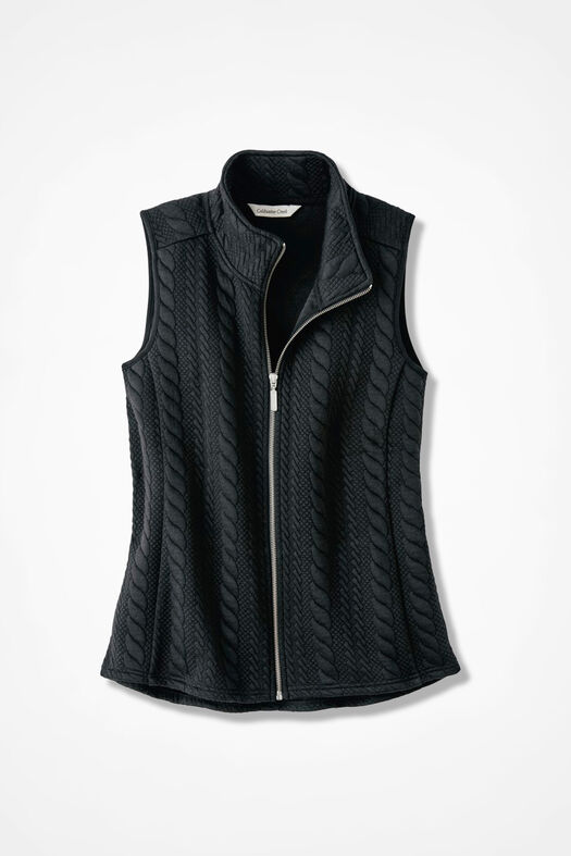 Curved-Hem Cabled Vest, Black, large