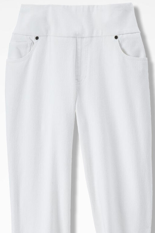 Knit Denim Pull-On Slim-Leg Jeans, White, large