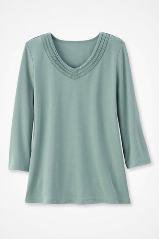 Tres Filas Ribbed 3/4-Sleeve Tee, Frosted Glass, large img