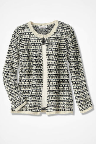 Intricate Harmony Eyelash Cardigan, Black/Ivory, large
