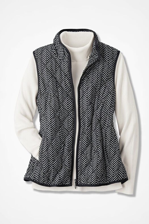 Herringbone Print Vest For All Seasons Coldwater Creek