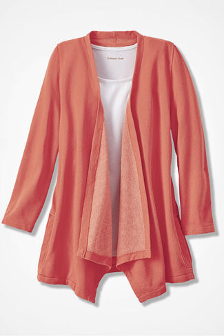 French Terry Flyaway Cardigan, Papaya, large
