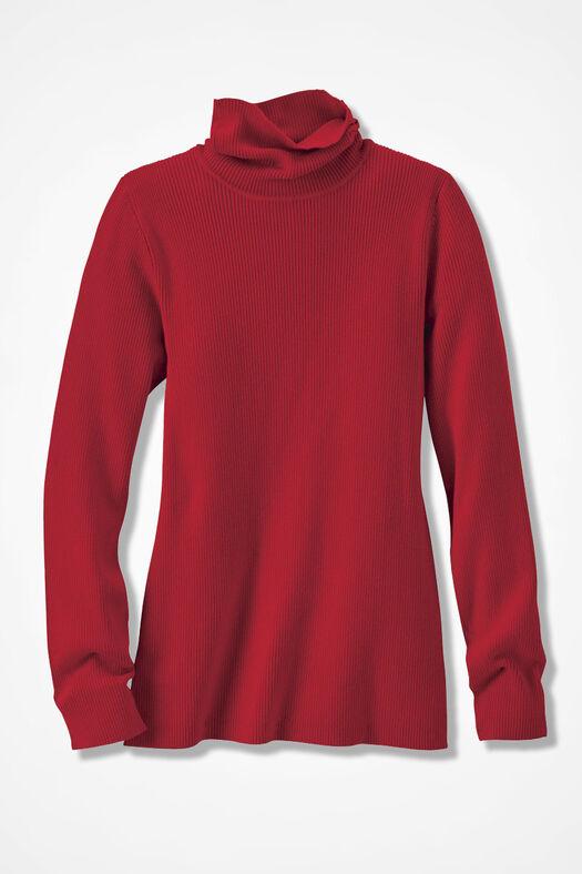 Ribbed Turtleneck Sweater, Fresh Red, large