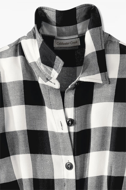Buffalo Check Shirtdress, Black/Ivory, large
