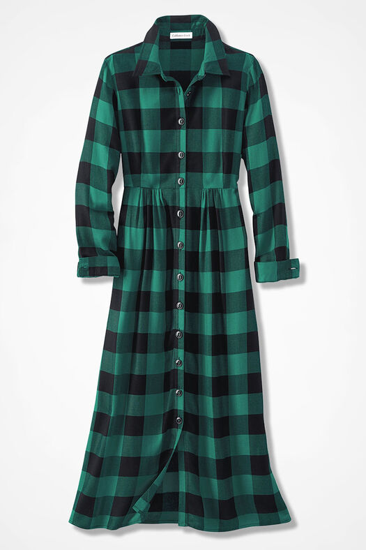 Buffalo Check Shirtdress, Emerald, large