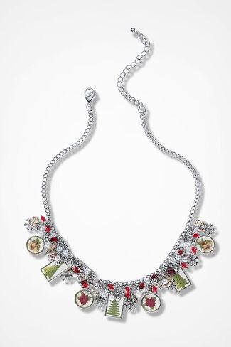 Winterfest Charm Necklace, Silver Multi, large