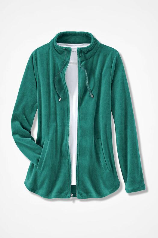 Velour du Jour Shirttail Jacket, Emerald, large