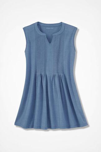 Pintuck Sleeveless Knit Tunic, Slate Blue, large