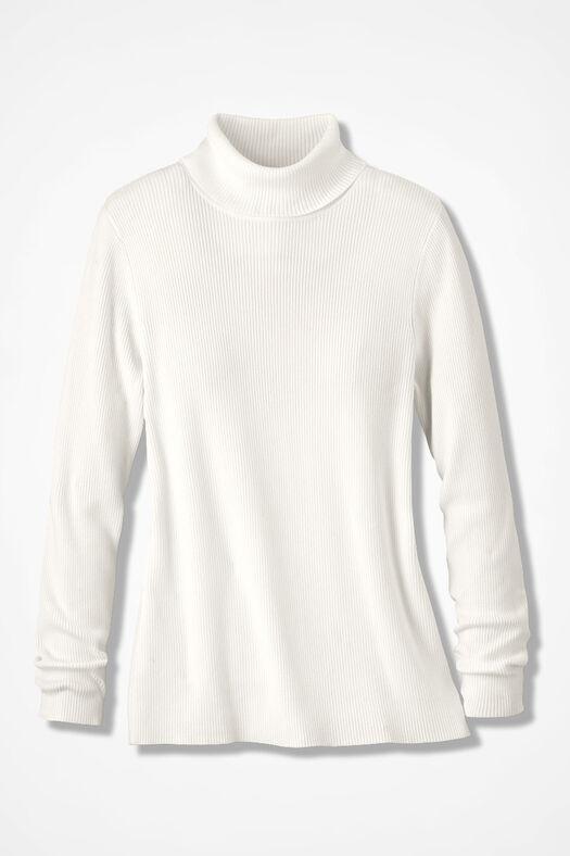 Ribbed Turtleneck Sweater, Ivory, large