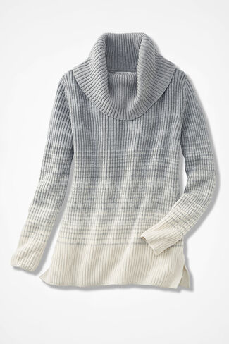 Soft Fade Ribbed Cowl-Neck Sweater, Heather Grey, large