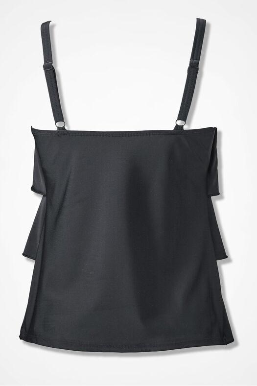 Solid Ruffled Tankini Top, Black, large