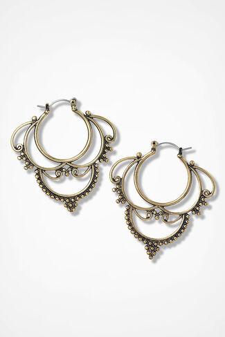 Fantasia Ornate Drop Earring, Gold, large