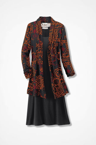 Floral Focus Jacket Dress, Black Multi, large