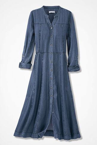 Tencel® Take-Me-There Shirtdress, Medium Blue Wash, large