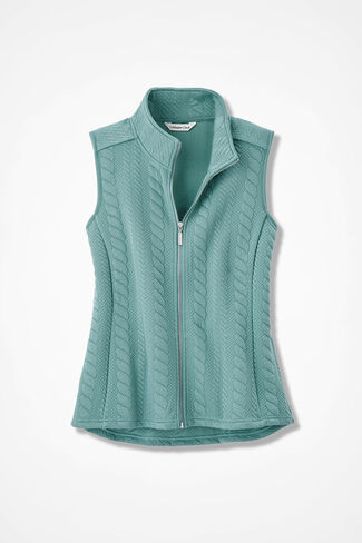 Curved-Hem Cabled Vest, Aqua, large