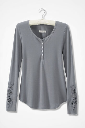 Embroidered Henley PJ Top, Pewter, large
