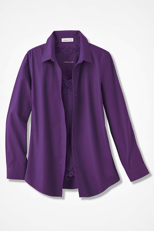 Long-Sleeve Easy Care Shirt, Plum, large