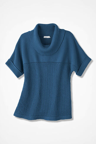 Mixed-Stitch Dolman Sweater, Aspen Blue, large