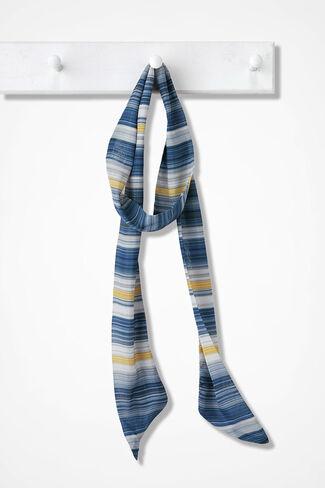 Skinny Scarf of Many Stripes, Blue Multi, large