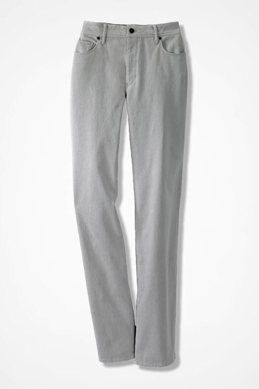 Knit Denim Straight-Leg Jeans, Shell Grey, large