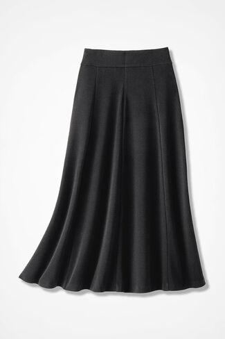 Signature Knit Crepe Skirt, Black, large