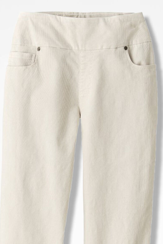 Pinwale Pull-On Stretch Corduroys, Antique White, large