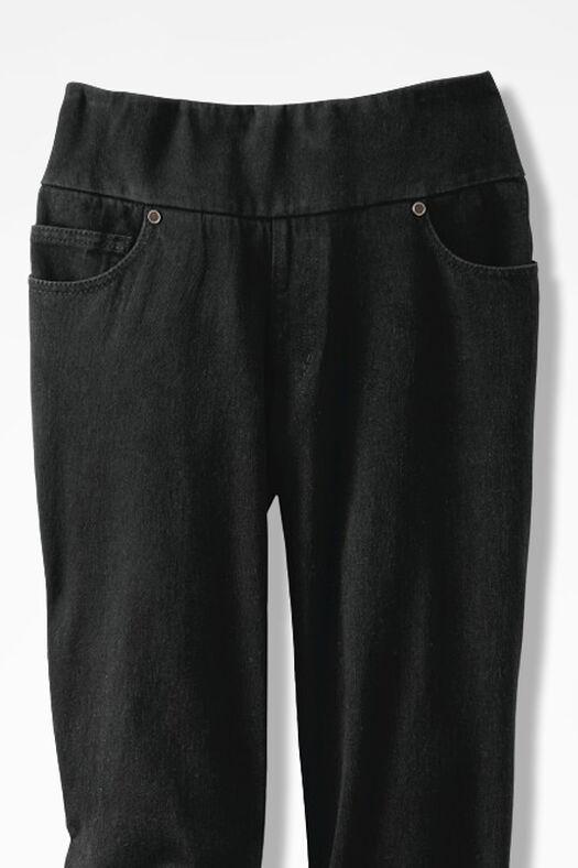 Knit Denim Pull-On Slim-Leg Jeans, Pitch Black Wash, large