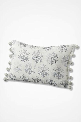 Snowflake Shimmer Rectangular Pillow, White, large