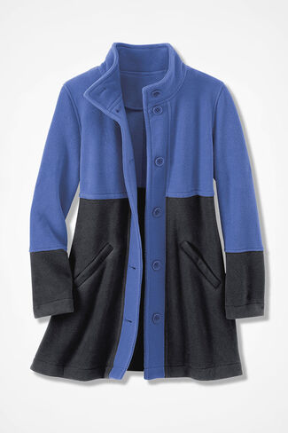 Colorblock A-line Fleece Coat, Iris Blue, large