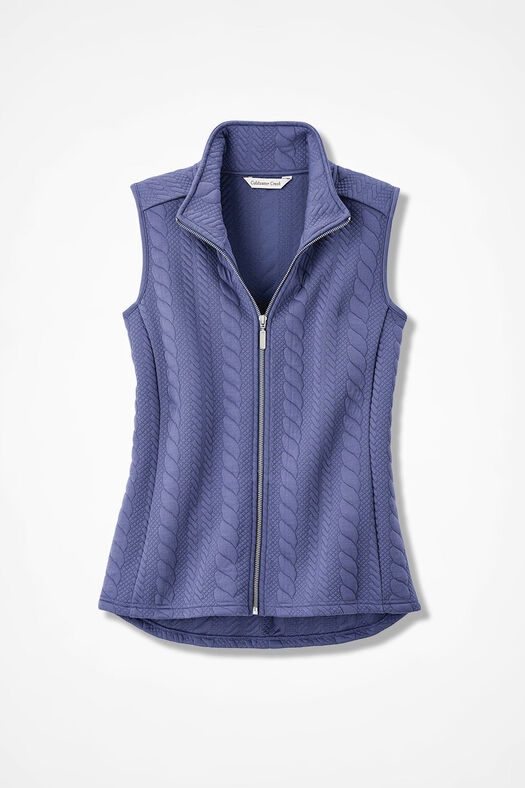 Curved-Hem Cabled Vest, Thistle, large