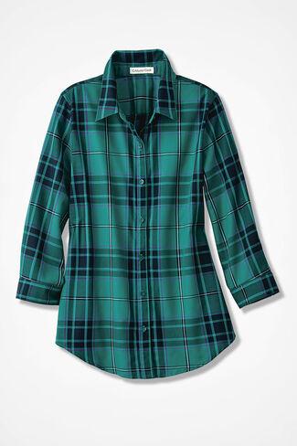 Festive Plaid Easy Care Shirt, Emerald, large