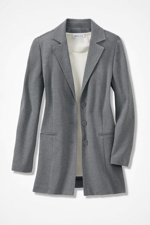 New Ponte Perfect® Boyfriend Jacket, Mid Heather Grey, large