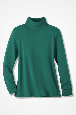 Essential Supima® Stand-Neck Tee, Emerald, large