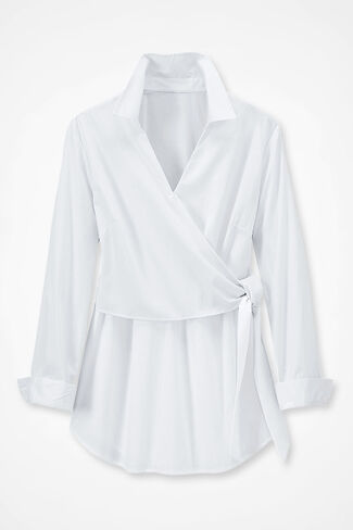 Side-Tie Easy Care Tunic, White, large img