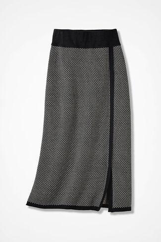 Bird's-Eye Sweater Skirt, Black, large