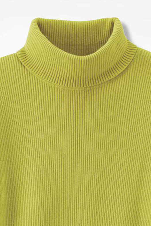 Ribbed Turtleneck Sweater, Citron, large