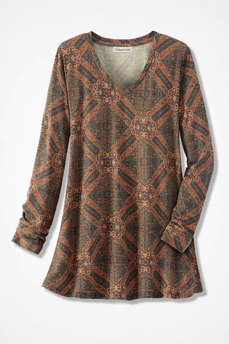 Mosaic Maze Swing Tunic, Spice, large